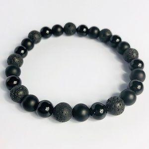 GEMSTONE Mens Onyx Volcanic Stone Beaded Bracelet